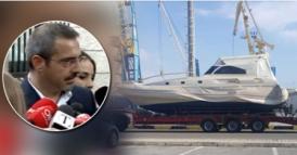 Samir Tahiri, holt seine Privat Yacht aus dem Mafia besetzten neuen Fischereihafen Durres