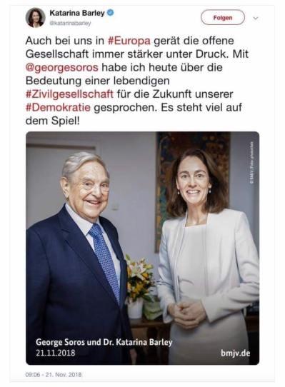Die korrupteste Mafia trifft sich: Georg Soros, Katharina Barley (SPD) Hirnlos Abteilung. Chef Schlepperin und Chefin der ASYL Betrüger