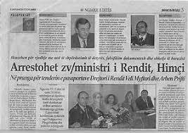 Verhaftung des Vize Innenminister Bujar Himci, der 3 höchsten Polizei Direktoren, im Bundesdreckerei Skandal in Tirana. Anfang Oktober 2002