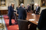 President Donald J. Trump joins a roundtable with Vice President Mike Pence and CEOs in the Cabinet Room, March 30, 2020, to discuss public-private partnership efforts to respond to the COVID-19 coronavirus outbreak. (White House)